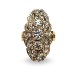 Кольцо из золота 585 пробы с бриллиантами. Ручная работа.