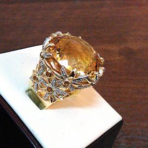 Кольцо из золота с бриллиантами и цитринами. Ручная работа.